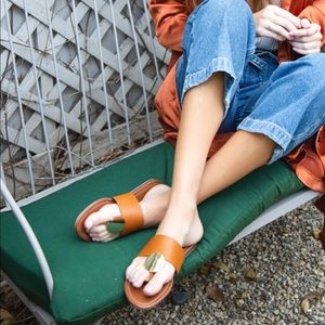 Shoes - BLACK THONG GOLD DISC SANDALS FLATS